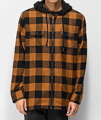 Vans Kenton Black & Brown Hooded Flannel