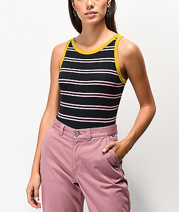 Vans Lizzie Black & Golden Palm Stripe Bodysuit