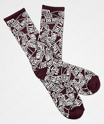 Vans OTW Maroon & White Crew Socks
