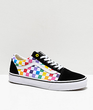 Vans Old Skool Black, White & Rainbow Checkerboard Skate Shoes
