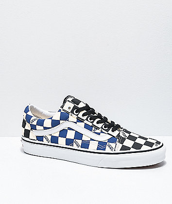 Vans Old Skool Black & Navy Big Checkerboard Skate Shoes