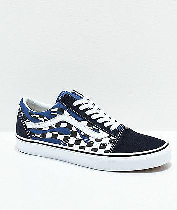 Vans Old Skool Checkerboard Flame Navy & White Skate Shoes