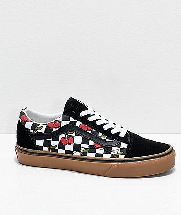 Vans Old Skool Cherry Black & Gum Checkered Skate Shoes
