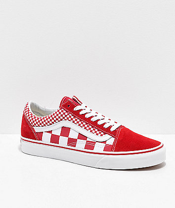 Vans Old Skool Mix Checker Chili Pepper & White Skate Shoe