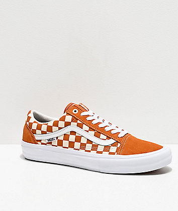 Vans Old Skool Pro Golden Oak & White Checkerboard Skate Shoes