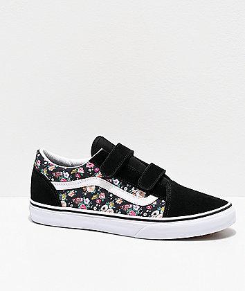 Vans Old Skool V Butterfly Floral Black & White Skate Shoes