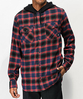 Vans Parkway Dress Blues & Red Hooded Flannel Shirt