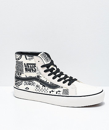 Vans Sk8-Hi 138 Decon SF V66 Marshmallow & Black Skate Shoes