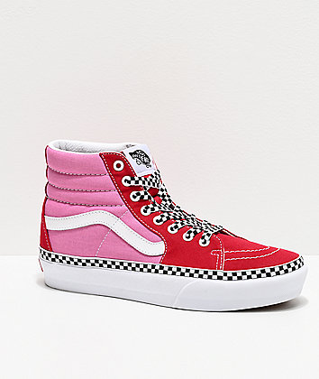 Vans Sk8-Hi Checkerboard Foxing Chili Red & Pink Platform Shoes