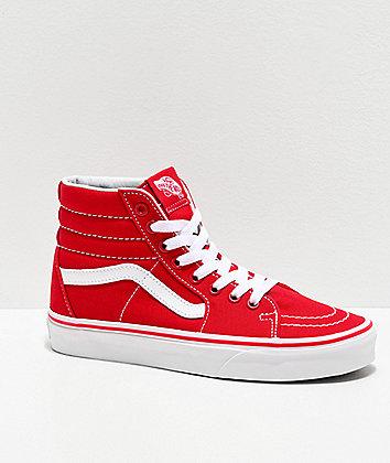 Vans Sk8-Hi Formula Red Canvas Skate Shoes