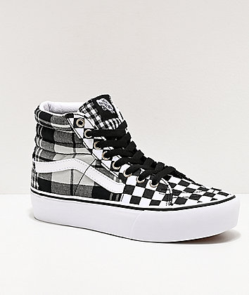 Vans Sk8-Hi Plaid Checkerboard White, Grey & Black Platform Shoes