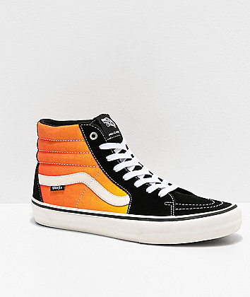 Vans Sk8-Hi Pro Black & Fade Orange Skate Shoes