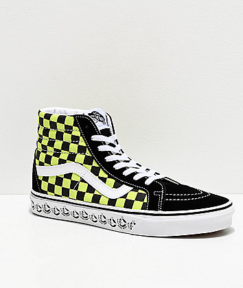 Vans Sk8-Hi Reissue BMX Checkerboard Black & Sharp Green Skate Shoes