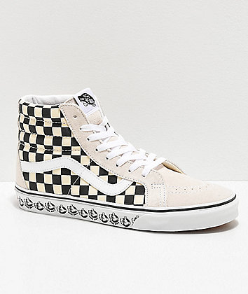 Vans Sk8-Hi Reissue BMX White & Black Checkerboard Skate Shoes