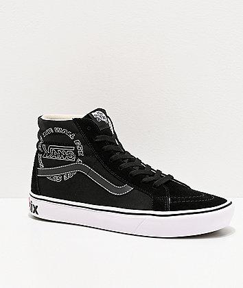 Vans Sk8-Hi Reissue ComfyCush Distort Black & White Skate Shoes