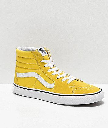 Vans Sk8-Hi Vibrant Yellow & White Skate Shoes