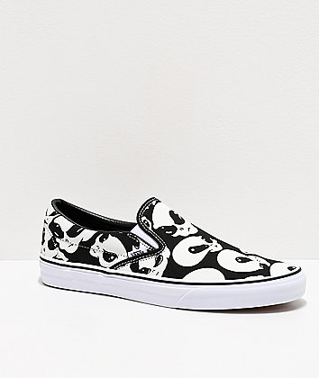 Vans Slip-On Alien Ghost Black & White Skate Shoes