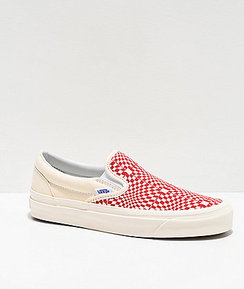 Vans Slip-On Anaheim OG Red & Cream Checkerboard Skate Shoes