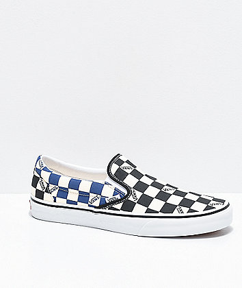 Vans Slip-On Black & Navy Big Checkerboard Skate Shoes