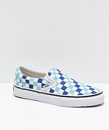 Vans Slip-On Blue, Topaz & White Checkered Canvas Skate Shoes