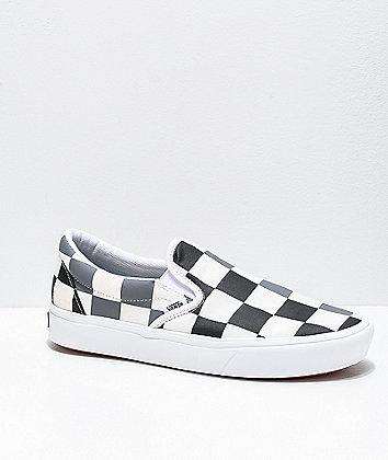 Vans Slip-On ComfyCush Half Check Black, Grey & White Skate Shoes