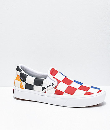 Vans Slip-On ComfyCush Half Check Multi & White Skate Shoes