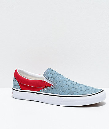 Vans Slip-On Deboss Checkerboard Lead Blue & Red Skate Shoes