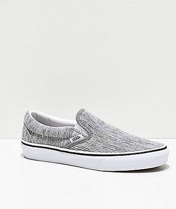 Vans Slip-On Gray Rib & White Skate Shoes