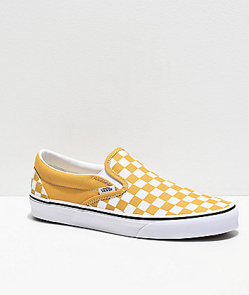 Vans Slip-On Ochre Checkerboard Skate Shoes
