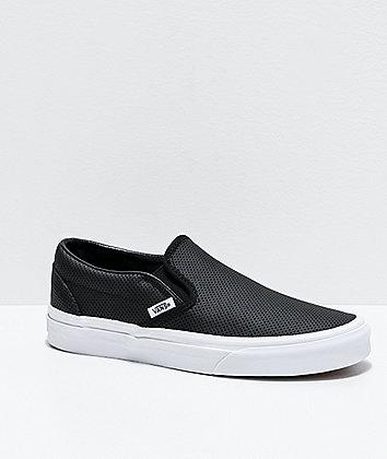 Vans Slip-On Perforated Leather Black Skate Shoes