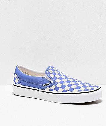Vans Slip-On Ultramarine & White Checkerboard Skate Shoes