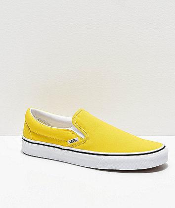 Vans Slip-On Vibrant Yellow & White Skate Shoes