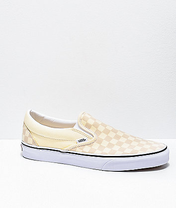 Vans Slip-On White & True White Checkerboard Skate Shoes