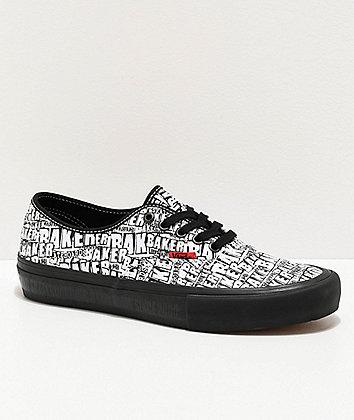 Vans x Baker Authentic Pro zapatos de skate negros y blancos