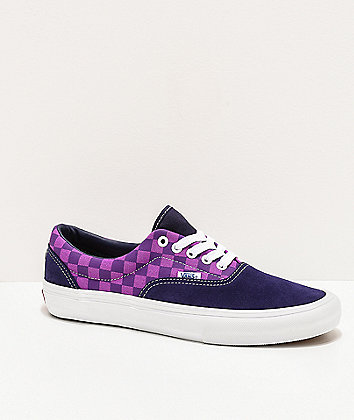 Vans x Baker Era Pro Kader Purple Check Skate Shoes