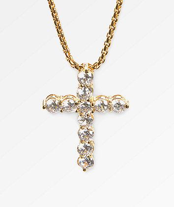 Veritas Romulus Cross 24kt Yellow Gold Necklace