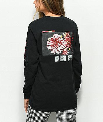 Vitriol Agony Defeat Flowers Black Long Sleeve T-Shirt