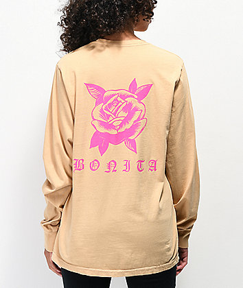 Viva La Bonita Rose Tan & Neon Pink Long Sleeve T-Shirt