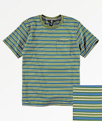 Volcom Boys Moore Stripe Squadron Green T-Shirt