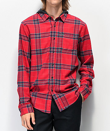 Volcom Caden Red Hooded Flannel Shirt