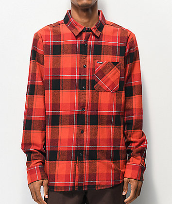 Volcom Caden Red Plaid Flannel Shirt