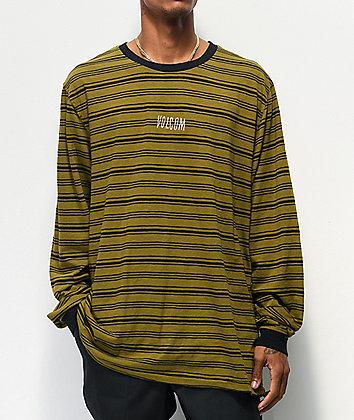 Volcom Fluxer Green & Black Stripe Long Sleeve T-Shirt