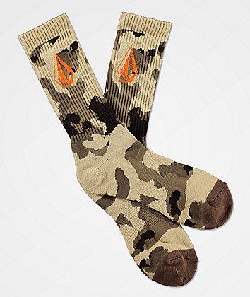 Volcom Full Stone Brown Camo Crew Socks