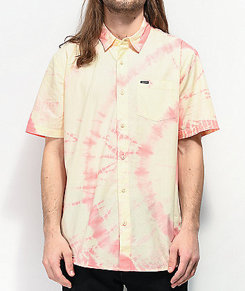 Volcom Merik Cream & Pink Tie Dye Short Sleeve Button Up Shirt