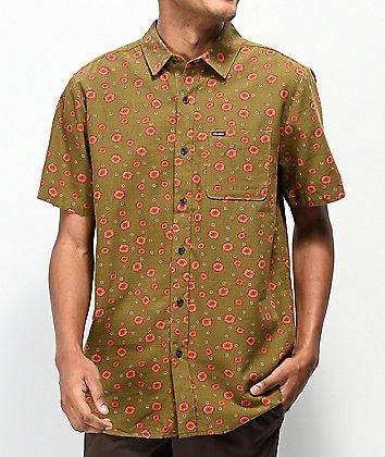 Volcom Psych Dot Army Green Short Sleeve Button Up Shirt