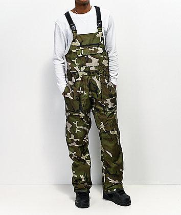 Volcom Roan Green Camo 15K Snowboard Bib Pants