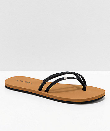 Volcom Thrills Black & Khaki Thong Sandals