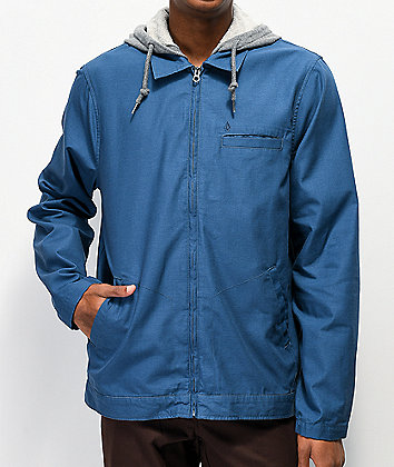 Volcom Warren Blue Hooded Coaches Jacket