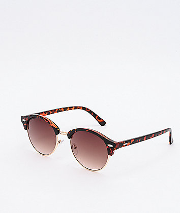 Walk This Way Round Clubmaster Tort & Brown Sunglasses