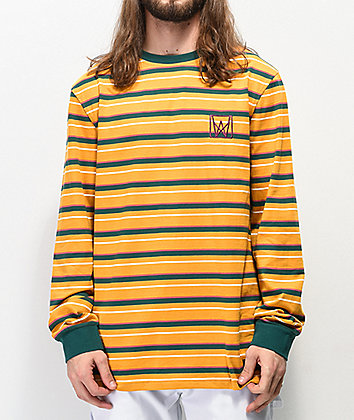 Welcome Icon Gold & Teal Stripe Long Sleeve T-Shirt
